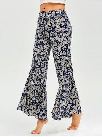 Cheap Retro Print Elastic Waist Flare Pants