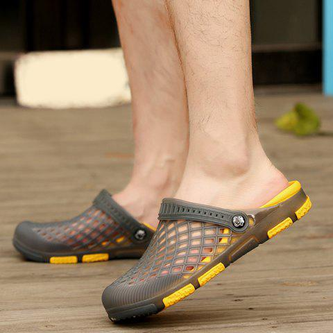 Unique Plastic Hollow Out Slippers - 40 GRAY Mobile