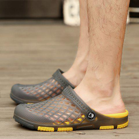 Online Plastic Hollow Out Slippers - 43 GRAY Mobile