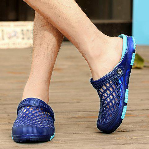 Online Plastic Hollow Out Slippers - 43 BLUE Mobile