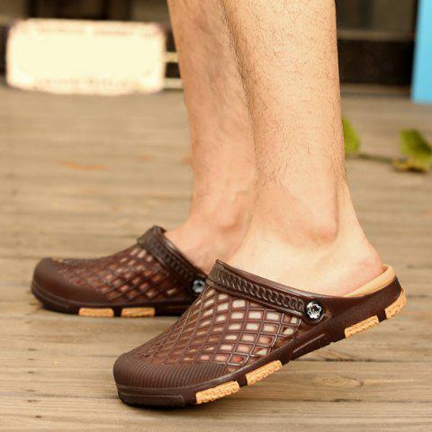 Shop Plastic Hollow Out Slippers - 41 DEEP BROWN Mobile