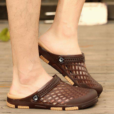 Chic Plastic Hollow Out Slippers - 42 DEEP BROWN Mobile