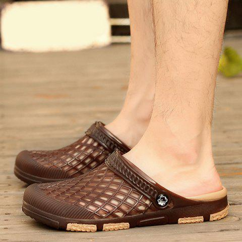 Shop Plastic Hollow Out Slippers - 42 DEEP BROWN Mobile