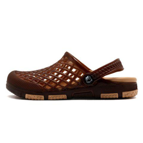New Plastic Hollow Out Slippers - 42 DEEP BROWN Mobile