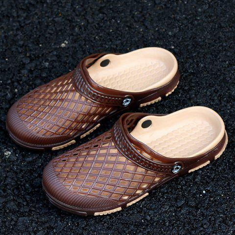 Cheap Plastic Hollow Out Slippers - 40 DEEP BROWN Mobile