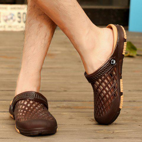 Shop Plastic Hollow Out Slippers - 40 DEEP BROWN Mobile