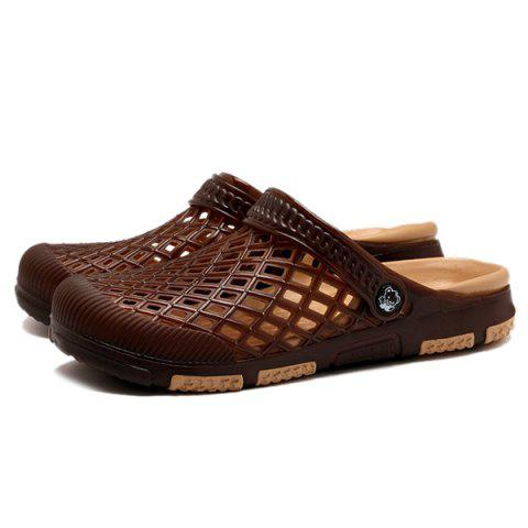 New Plastic Hollow Out Slippers - 40 DEEP BROWN Mobile