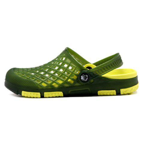 Shop Plastic Hollow Out Slippers - 43 GREEN Mobile
