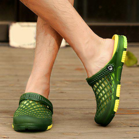 Best Plastic Hollow Out Slippers - 44 GREEN Mobile