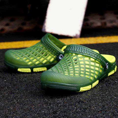 Shop Plastic Hollow Out Slippers - 41 GREEN Mobile