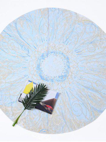 New Flower Print Round Tie Dye Beach Throw - ONE SIZE LIGHT BLUE Mobile