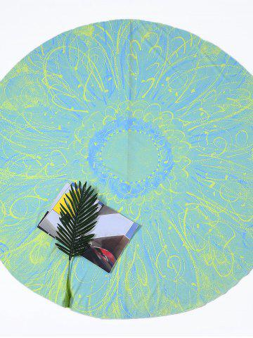 Trendy Flower Print Round Tie Dye Beach Throw - ONE SIZE LIGHT GREEN Mobile