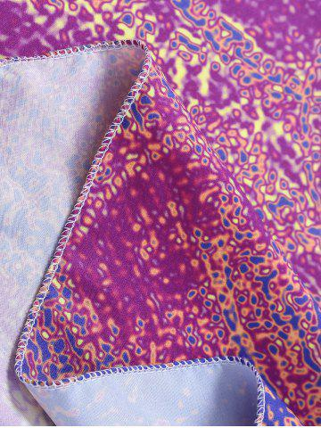 Affordable Flower Print Round Tie Dye Beach Throw - ONE SIZE PURPLISH RED Mobile