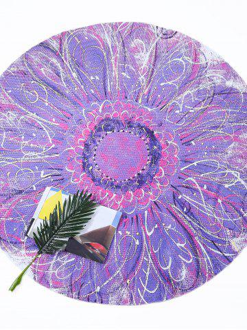 Flower Print Round Tie Dye Beach Throw - Light Purple - One Size