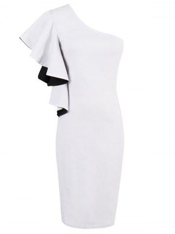 One Shoulder Ruffles Sheath Cocktail Dress - White - 2xl