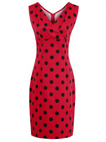 V Neck Polka Dot Sheath Dress - RED 2XL