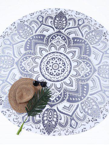 Store Lotus Flower Round Beach Cover Throw - ONE SIZE GRAY Mobile