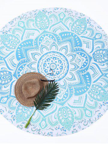Hot Lotus Flower Round Beach Cover Throw - ONE SIZE LIGHT BLUE Mobile