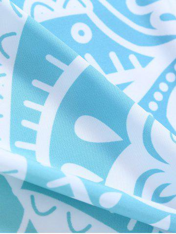 Discount Lotus Flower Round Beach Cover Throw - ONE SIZE LIGHT BLUE Mobile
