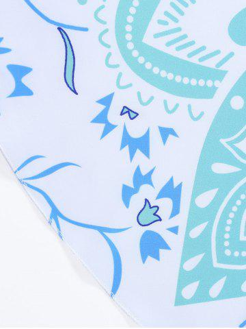 Online Lotus Flower Round Beach Cover Throw - ONE SIZE LIGHT BLUE Mobile