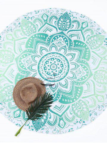 Outfits Lotus Flower Round Beach Cover Throw - ONE SIZE GREEN Mobile