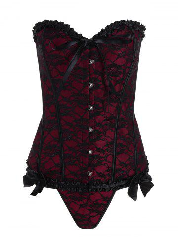 Affordable Plus Size Lace Up Lace Corset - 6XL WINE RED Mobile