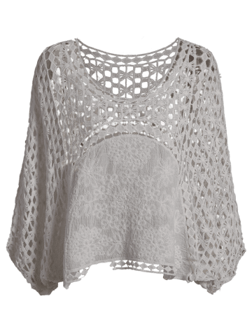 Hot Dolman Sleeve Openwork Cover Ups Bathing Suit - ONE SIZE(FIT SIZE XS TO M) WHITE Mobile