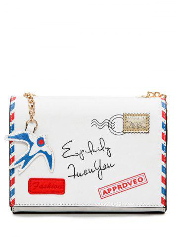 New Chain Envelope Printed Crossbody Bag WHITE