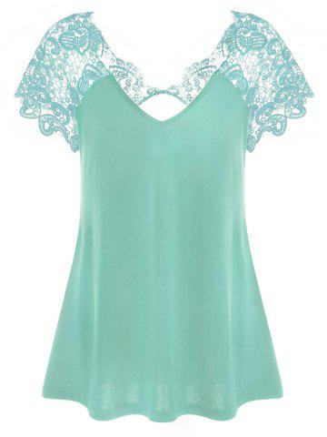Outfits V Neck Plus Size Lace Trim Cutwork T-Shirt