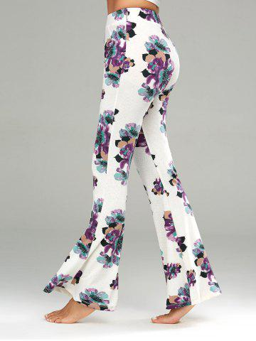 Outfit Floral Print Casual Flare Pants WHITE S