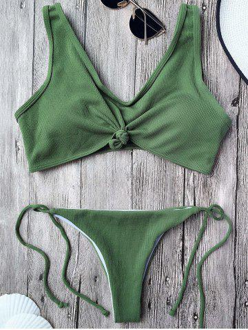 Knotted Ribbed String Bikini - Army Green - S