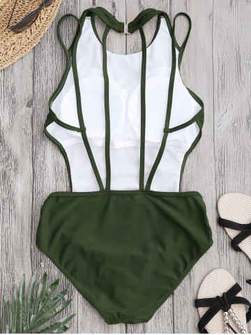 Hot Back Strappy Padded Swimwear - S ARMY GREEN Mobile