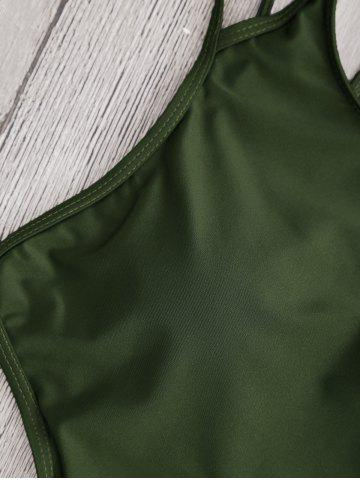 Latest Back Strappy Padded Swimwear - S ARMY GREEN Mobile