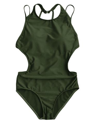 Best Back Strappy Padded Swimwear - S ARMY GREEN Mobile