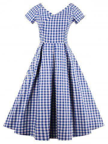 Sale V Neck Checked A Line Dress