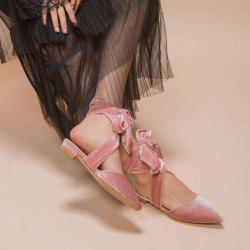Pointed Toe Velvet Slippers - PINK