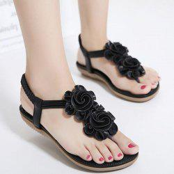 Elastic Band Flowers Sandals - BLACK