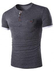 T-shirt Avec  Conception Poche Bouton -