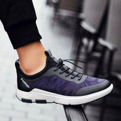 Faux Leather Printed Athletic Shoes - BLUE 43