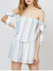 Stripe Off The Shoulder Top With Shorts