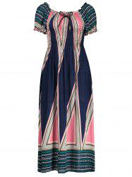 Geometrical Print Puff Sleeve Midi Shirred Dress - DEEP BLUE