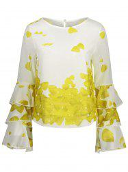 Bell Sleeve Layer Printed Blouse -