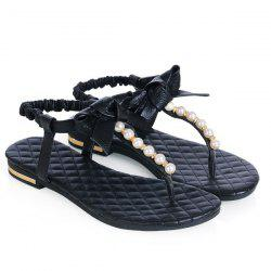 Bow Faux Pearls T Strap Flat Sandals