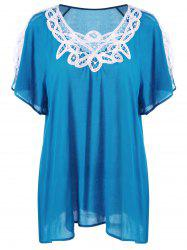 Plus Size Cutwork Panel Slit Sleeve Blouse
