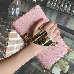 Metal Cuff Crocodile Embossed Clutch Bag - PINK