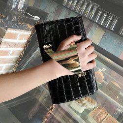 Metal Cuff Crocodile Embossed Clutch Bag - BLACK
