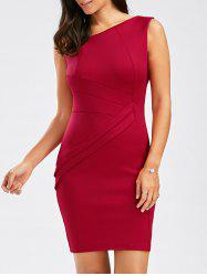 Stylish Skew Collar Sleeveless Solid Color Spliced Bodycon Women's Dress