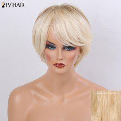 Siv Hair Short Side Bang  Layered Silky Straight Ombre Human Hair Wig
