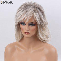 Siv Hair Side Bang Medium Shaggy Natural Straight Colormix Human Hair Wig