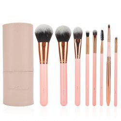 8 Pcs Face Eye Lip Fiber Makeup Brushes Set with Brush Holder